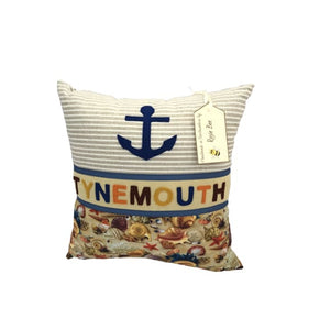 Tynemouth Cushion Small - Blue anchor and seaside shells