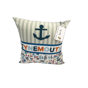 Tynemouth Cushion Small - Blue Anchor and Seaside theme