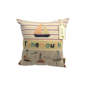 Tynemouth Cushion Small - Boat and Lighthouse Design