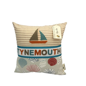 Tynemouth Cushion Small - Orange and Aqua Boat and Shells