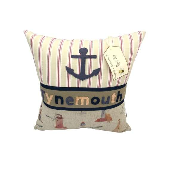 Tynemouth Cushion Small Pink & Blue Lighthouse