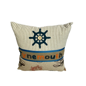 Tynemouth Cushion Small - Wheel Motif and crab design