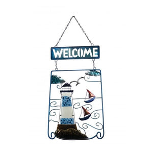 Wall Hanging Glass & Metal Welcome Lighthouse - Home Decor - Glass