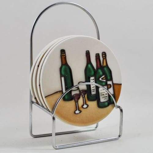 Wine Bottle Design Ceramic Coasters - Set Of 4
