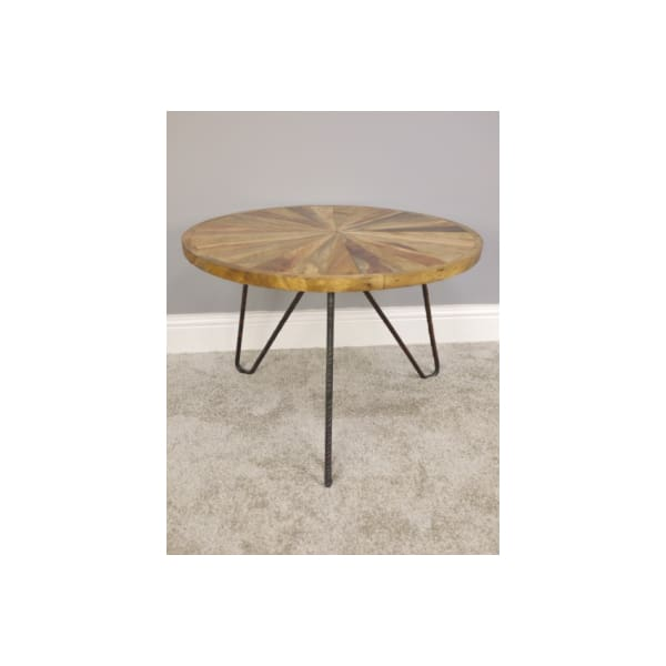 Wood Segment and Iron Round Coffee Table
