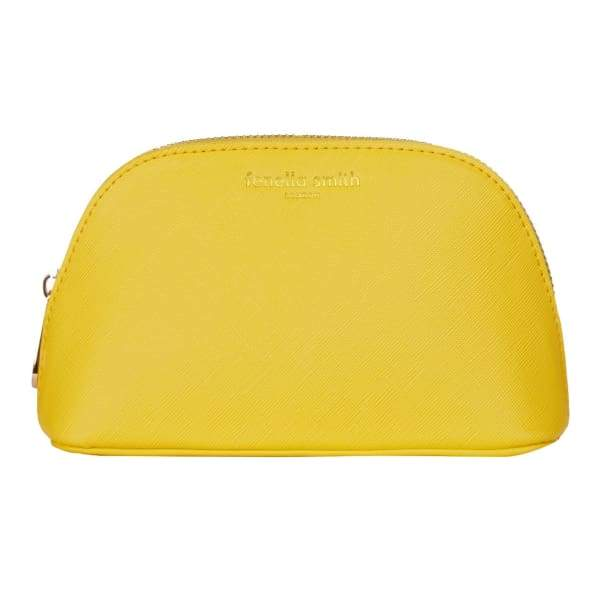 Yellow Vegan Leather Oyster Cosmetic Case