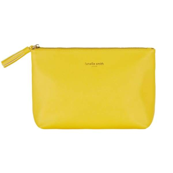 Yellow Vegan Leather Wash Bag