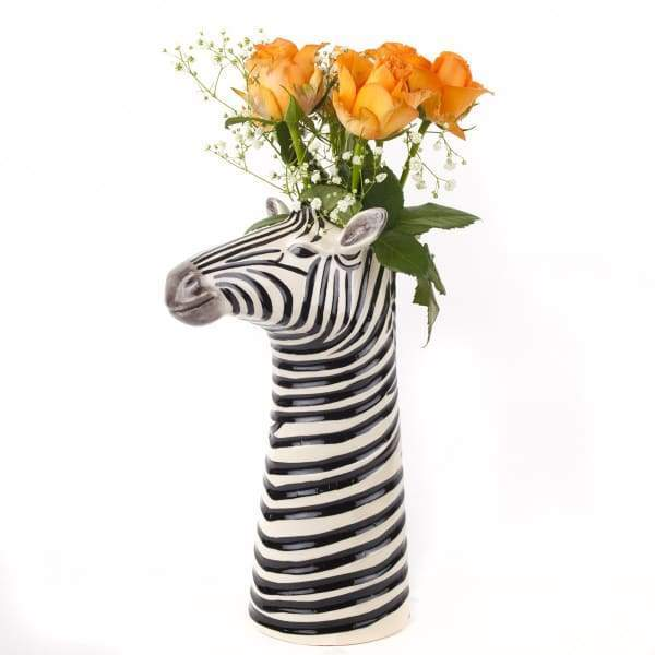 Zebra Ceramic Flower Vase By Quail Ceramics