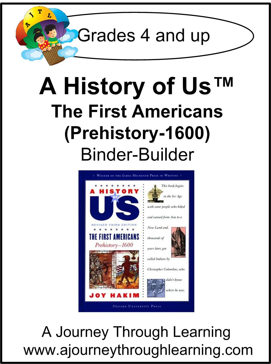 A History of Us Book 1- The First Americans Lapbook Binder-Builder - A Journey Through Learning Lapbooks
