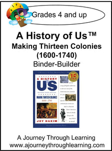 A History of Us Book 2- Making Thirteen Colonies Lapbook Binder-Builder - A Journey Through Learning Lapbooks