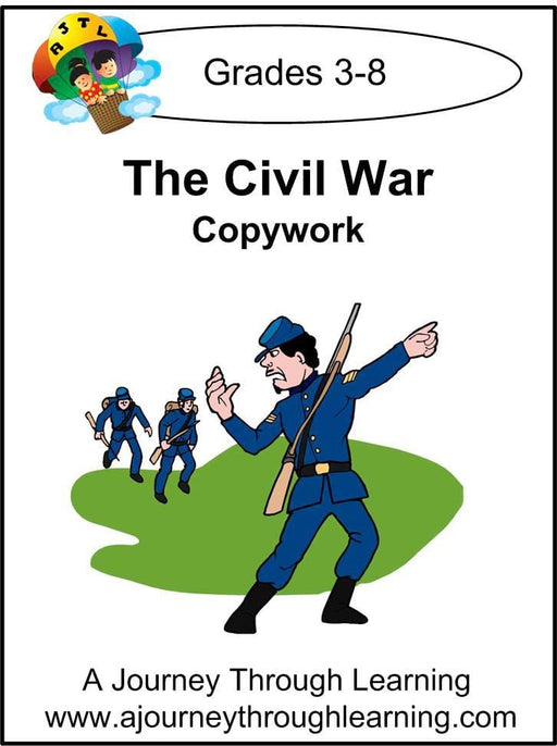 Civil War Copywork (cursive letters) - A Journey Through Learning Lapbooks