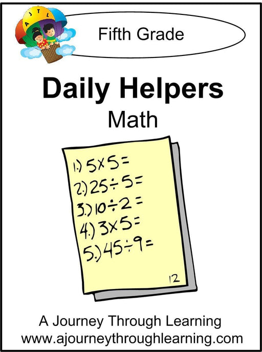 Daily Helper Grade 5 Math Lapbook - A Journey Through Learning Lapbooks
