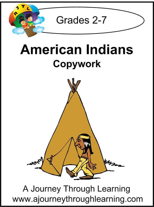 American Indians Copywork (printed letters) - A Journey Through Learning Lapbooks