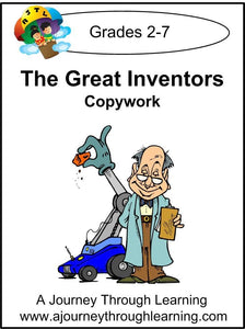 Inventors Copywork (printed letters) - A Journey Through Learning Lapbooks