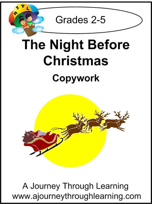 The Night Before Christmas Copywork (printed letters) - A Journey Through Learning Lapbooks