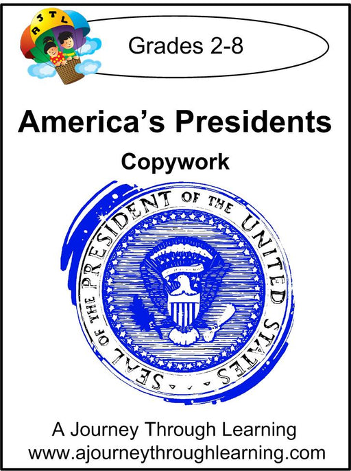 Presidents Copywork (cursive letters) - A Journey Through Learning Lapbooks