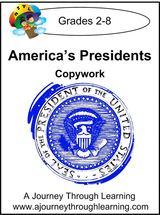 America's Presidents Copywork (cursive letters) | A Journey Through Learning Lapbooks