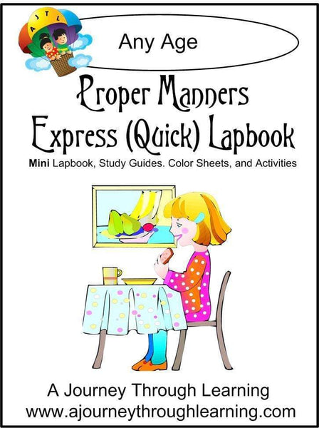 Proper Manners Express Lapbook - A Journey Through Learning Lapbooks