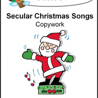 Secular Christmas Songs Copywork (printed letters) - A Journey Through Learning Lapbooks