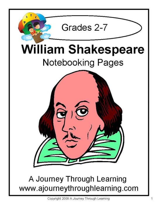 William Shakespeare Notebooking Pages - A Journey Through Learning Lapbooks