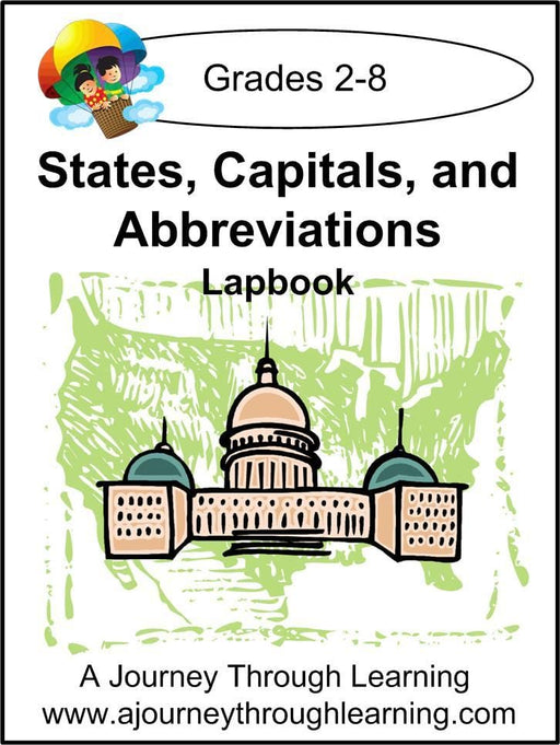 States, Capitals, and Abbreviations Lapbook with Study Guide - A Journey Through Learning Lapbooks