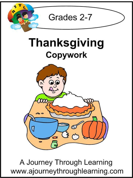 Thanksgiving Copywork (printed letters) - A Journey Through Learning Lapbooks