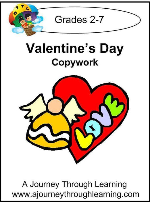 Valentine's Day Copywork (printed letters) - A Journey Through Learning Lapbooks