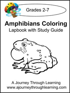 Amphibians Coloring Pages Lapbook with Study Guide - A Journey Through Learning Lapbooks