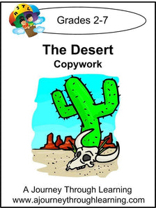 Desert Copywork (printed letters) - A Journey Through Learning Lapbooks