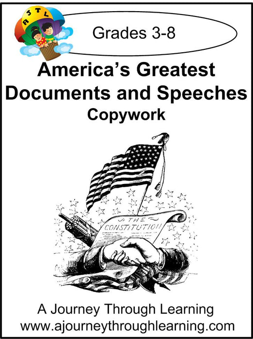 America's Greatest Documents and Speeches Copywork (printed letters) - A Journey Through Learning Lapbooks