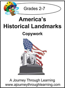America's Historical Landmarks Copywork (printed letters) - A Journey Through Learning Lapbooks
