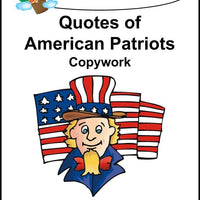 Quotes of American Patriots Copywork (printed letters) - A Journey Through Learning Lapbooks