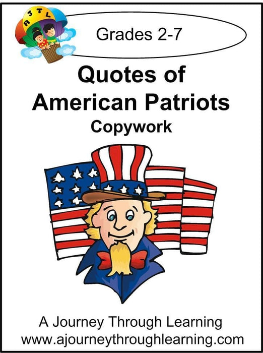Quotes of American Patriots Copywork (cursive letters) - A Journey Through Learning Lapbooks