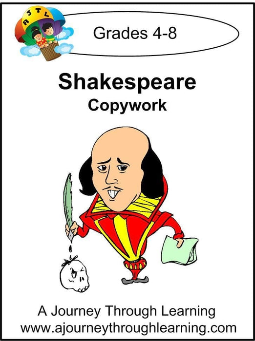 William Shakespeare Copywork (printed letters) - A Journey Through Learning Lapbooks