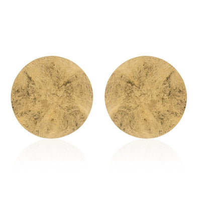 statement round gold earrings