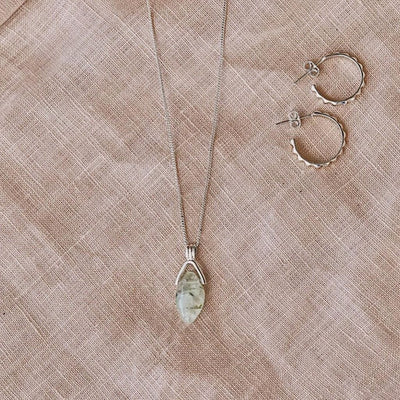 Venus Necklace - Prehnite Gemstone Silver