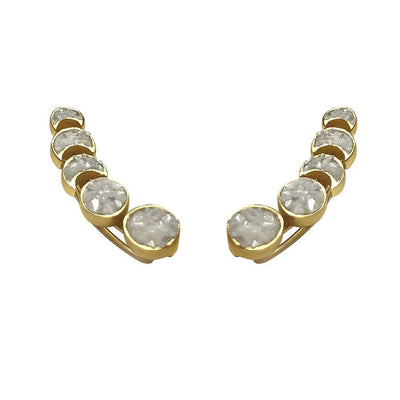 Sahara Moon Phases Ear Climber - Crushed Pearls