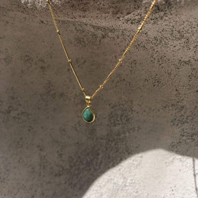 Tulum Necklace with Emerald Stone - 18ct Gold Vermeil