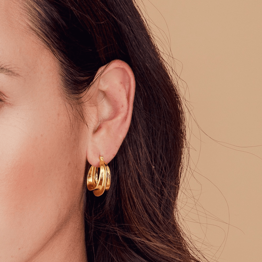 Picasso organic shape thick hoops - gold plated