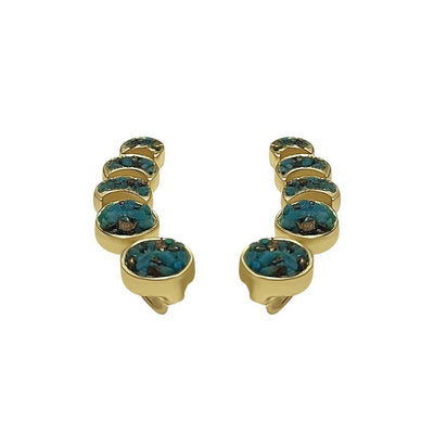 Turquoise Crushed Moon Phases Ear Climbers