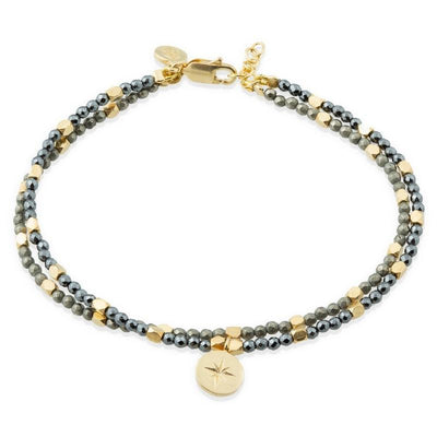 Hera Star Bracelet - Pyrite and Hematite Stones
