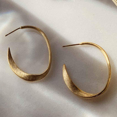 organic shape gold plated hoops