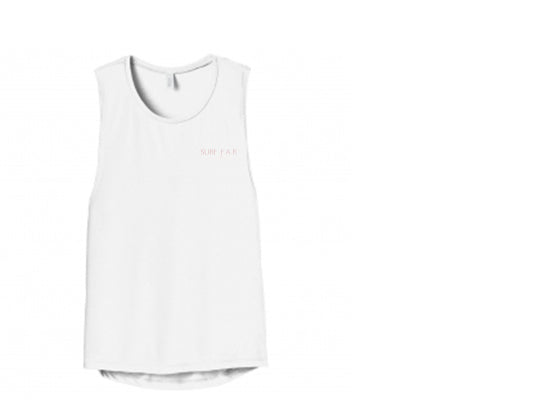 Surf Far White Muscle Tank