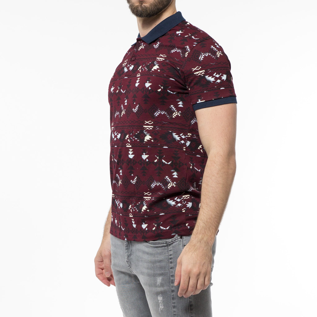 Polo Homme Rouge style aztèque - Sleetch.com