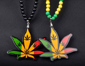 Beaded Wood Cannabis Leaf