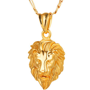 Men's Modern 18K Gold Plated Big Lion Head Men's