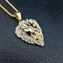 Exclusive Golden Lion Head Pendants Necklace