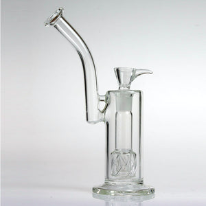 "10"" Bong With Double Showerhead Percs And Curved Neck"