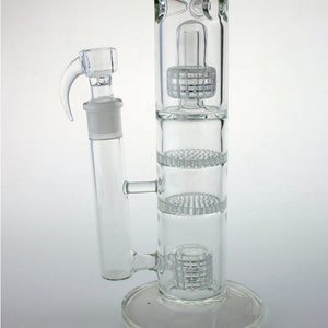 "14"" Straight Bong With Double Matrix Double Honeycomb Percs"