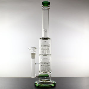 "17"" Bong with Inline Double 11-Arm Tree and Dome Percolators - Lazy Panda"